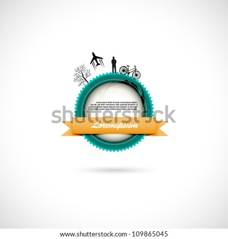 Interesting vintage with some silhouette elements. - stock vector