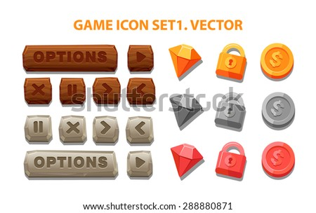 Interface buttons set for games or apps. Vector illustration. Easy to edit. gold  coin and lock. - stock vector