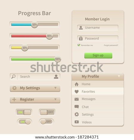Interface elements and tools for web and mobile design. Vector illustration - stock vector