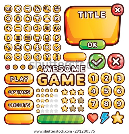 Interface elements for web and mobile games and apps. Icons set and ui elements set. Banners, progress bar, text box, rating stars, etc. Creative vector illustration. Isolated on white background - stock vector