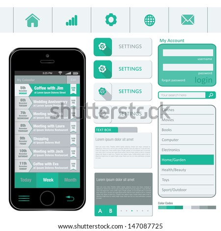 Interface elements using flat design in editable vector format - stock vector