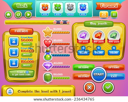 Interface game design and buttons set for mobile games or apps. Vector illustration eps 10. Easy to edit. - stock vector
