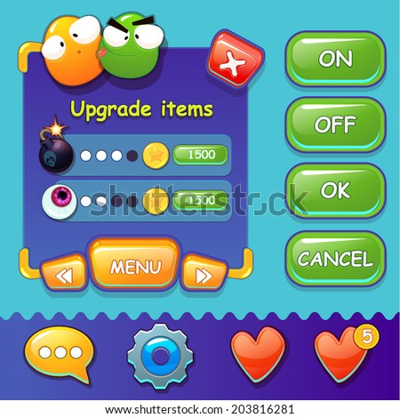 Interface game design (button set, resource icon for game) vector illustration - stock vector