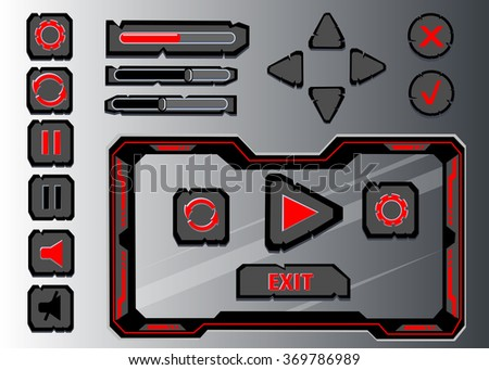 Interface game design user interface Interface buttons set for space games or apps