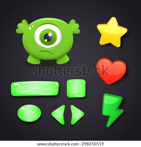 Interface icons set for game design with resources and monster - stock vector