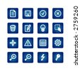 interface icons set on the blue background - stock vector