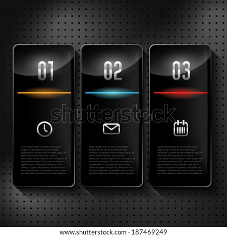 Interface three options for web design in dark colors - stock vector