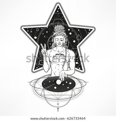Intergalactic Dj Buddha Super Star Tattoo Stock Vector 626733464