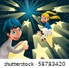 Intergalactic journey on the stars. Funny cartoon and vector illustration - stock vector