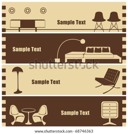 Interior banner set. Illustration vector. - stock vector
