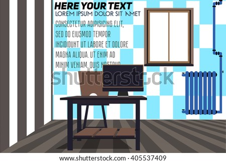 Interior concept of collection design. Flat Design Interior Living Room Vector Illustration. Workplace in room.Stylish and modern interior. Wooden desk with a computer.The wall in the room chessboard. - stock vector