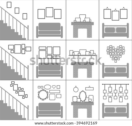 Interior decoration concept. Blank picture frames template set. Photo gallery on wall of stairs, living room, hall.. vector art image illustration, isolated on white background, sketch graphic design - stock vector