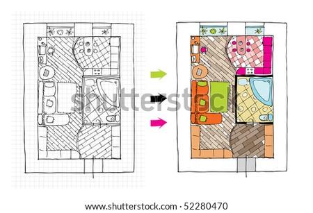 Interior design apartments - top view. Ragged lines, sketch handwork - stock vector