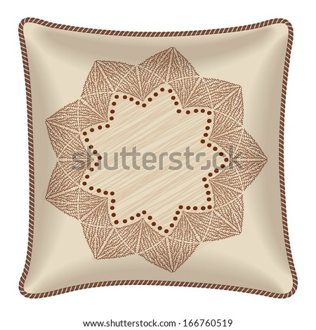 Interior design element: Decorative pillow with patterned pillowcase (abstract flower in light brown colors). Isolated on white. Vector illustration. - stock vector