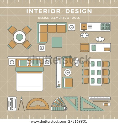 Interior design elements equipment tools stock vector for Interior design 7 elements