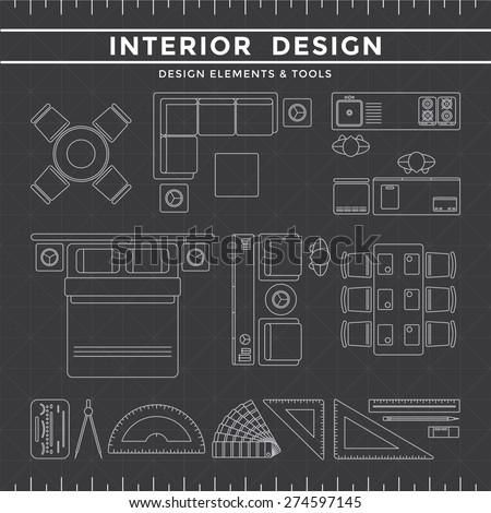 Interior Design Elements & Equipment Tools set on Dark Background gray icon line - stock vector