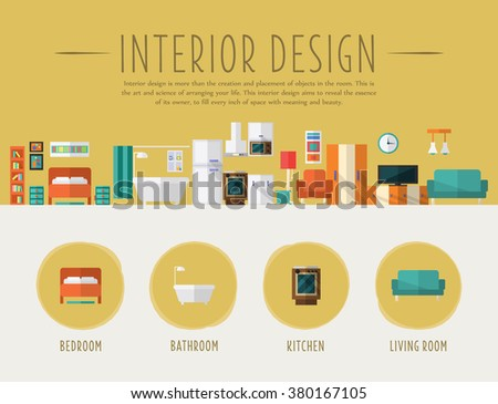 Interior Design. Flat Style Vector Illustration. Design for the web site, first page - stock vector