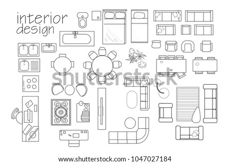 interior design floor plan symbols topのベクター画像素材 1047027184