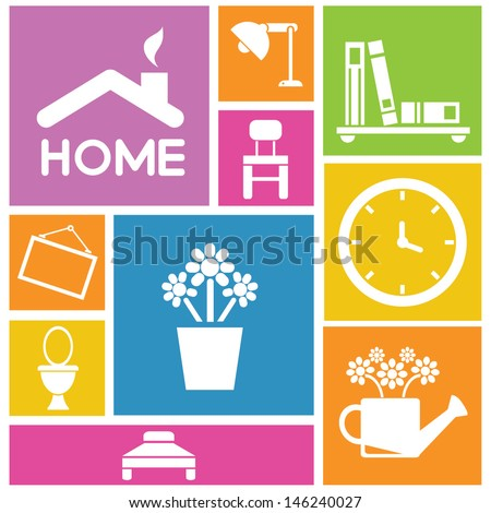 interior design home icons furniture icons background