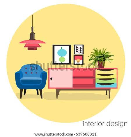 Interior design logo sticker vector furniture stock vector for Modern interior design logos
