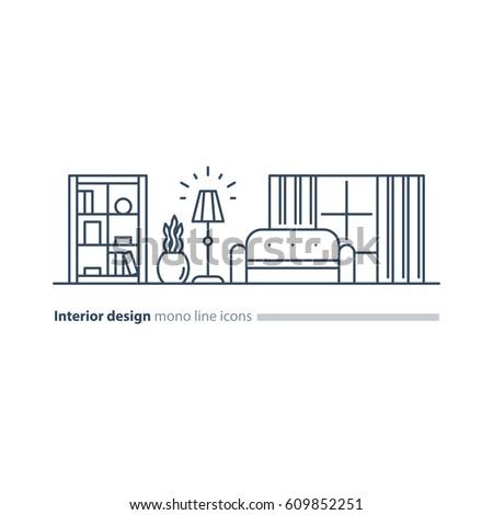 Interior Design Minimalism Living Room Set Of Furniture Tidy Apartment Vector Mono