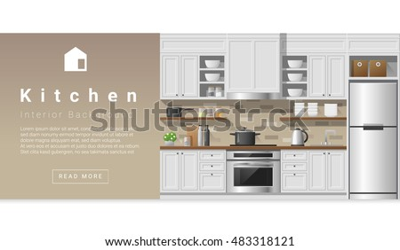 Modern Kitchen Background interior design modern kitchen background vector stock vector