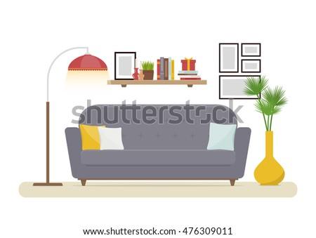 Interior Design Modern Living Room With Grey Sofa Vase Shelf Books And