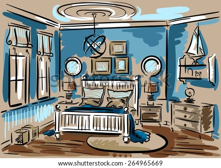 Interior design of the blue bedroom in marine style with double bed, luster and rug. Hand drawn vector sketch. - stock vector