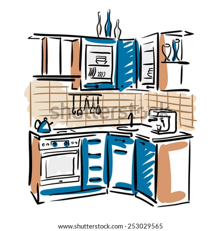 Interior Design Kitchen Hand Drawn Sketch Stock Vector 254747455