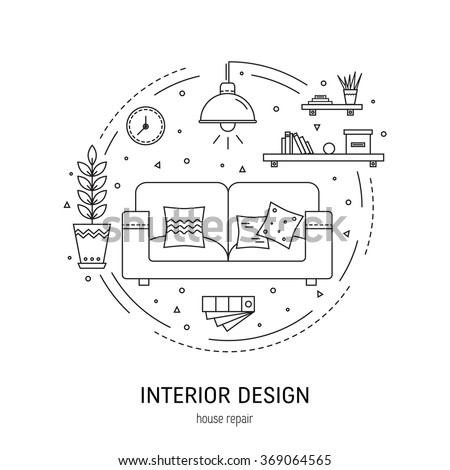 Interior design  round concept made in modern line style. Living room vector illustration. Can be used for infographics design, web elements.  - stock vector