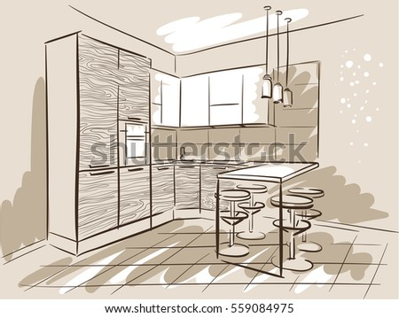 Interior Design Sketch Of The Kitchen With Dinner Table. Hand Drawn Sketch.
