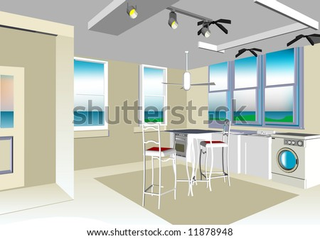 Interior Dream Home with Sea View (Vector image fully resizable and editable) - stock vector
