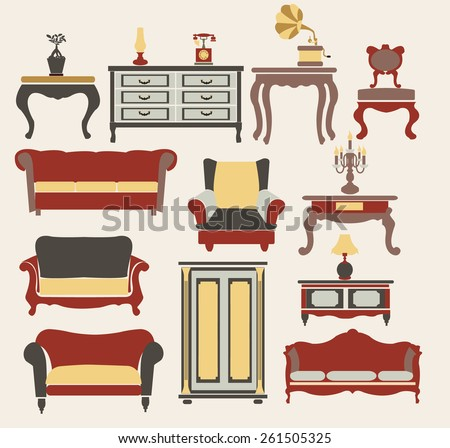 Interior Icons Set . Furniture in vintage style, elements for design