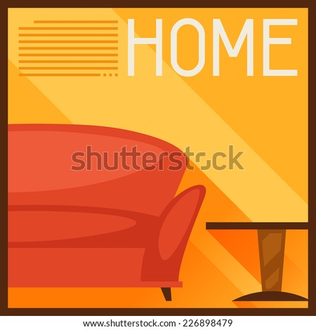 Interior illustration with furniture in retro style. - stock vector