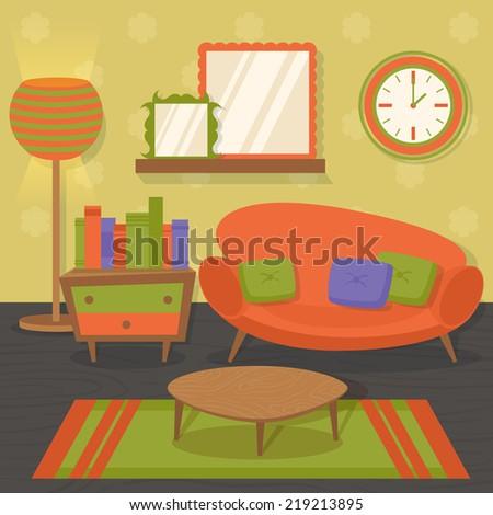 Interior indoor living room orange design with sofa mirror table vector illustration - stock vector