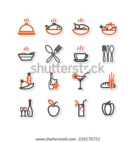 Interior, kitchen, food. Set of abstract pictures. A vector. - stock vector