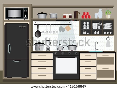 Interior kitchen with kitchen shelves and cooking utensils, electronics equipment on counter in tiles patterned background, vector illustration. - stock vector