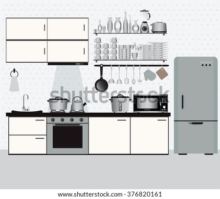 Interior kitchen with kitchen shelves and cooking utensils, equipment on counter in tiles patterned background, vector illustration.