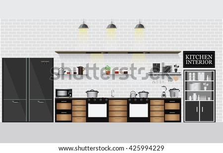 Interior kitchen with kitchen shelves and cooking utensils, equipment on counter with bricks patterned background, vector illustration. - stock vector