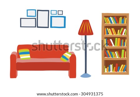 Interior Living Room Cartoon Style Sofa Stock Vector