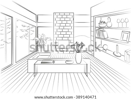 Interior living room with large panoramic windows and fireplace - stock vector