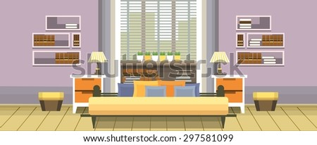 Interior living space bedroom with a bed near a window into a flat style - stock vector