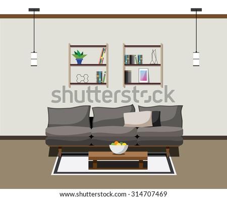interior modern furniture living room lamp sofa - stock vector