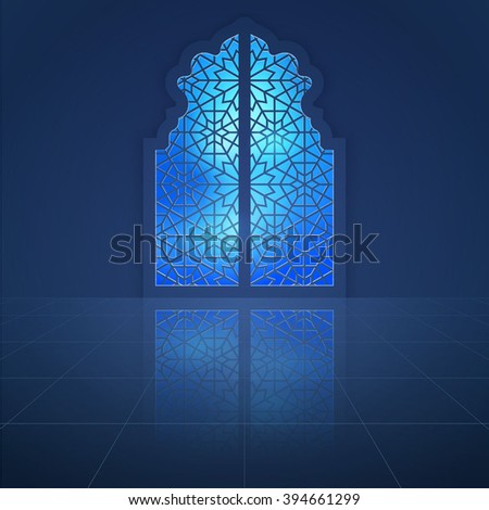 Interior mosque dooor with arabic pattern for islamic background - stock vector