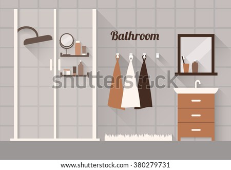 Interior of a bathroom. Flat design illustration - stock vector