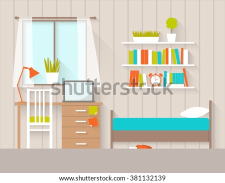 Dorm stock images royalty free images vectors for Chambre flat design