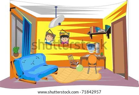 Interior of a child's room - stock vector