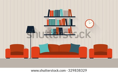 Interior of a living room  - stock vector