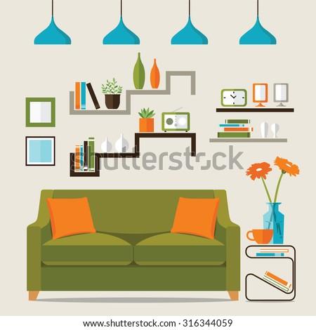 Interior of a living room. Modern flat design illustration - stock vector