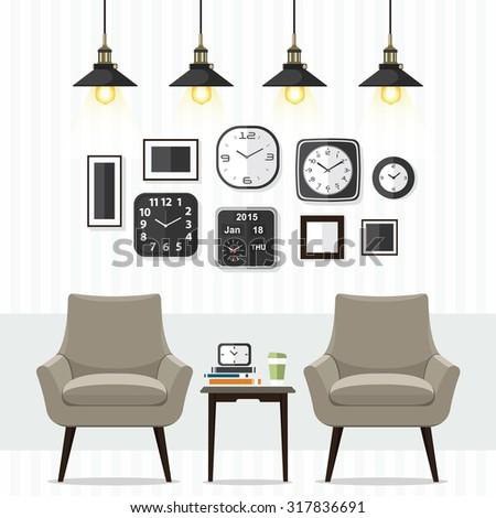 Interior of a living room. Modern flat design illustration. - stock vector